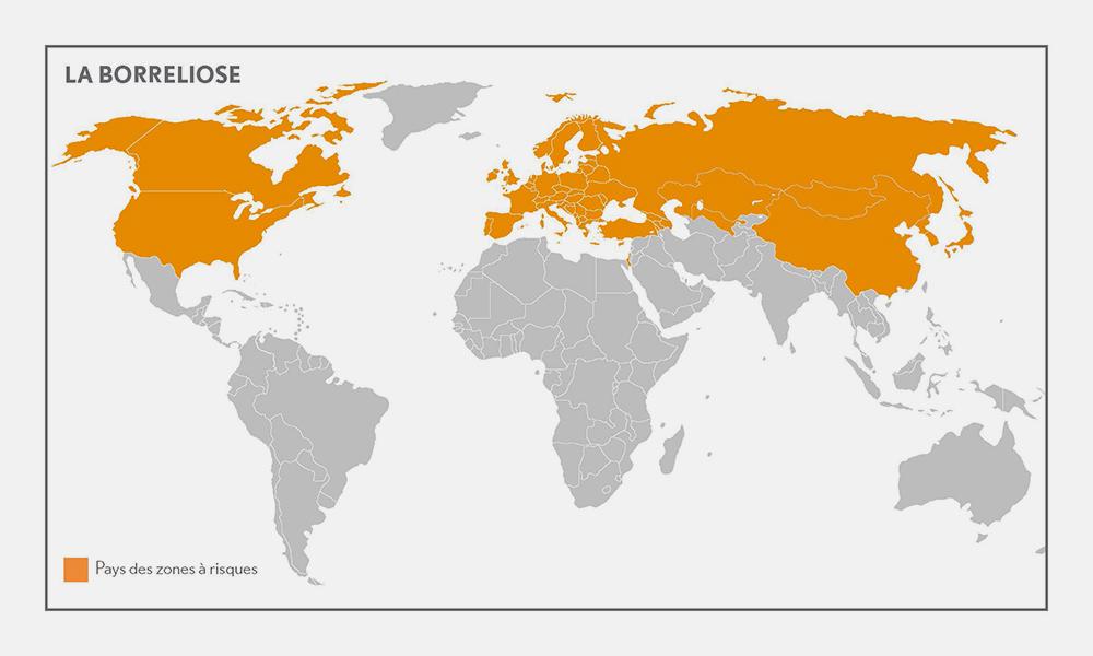 Carte indiquant les zones à risque pour la maladie de Lyme